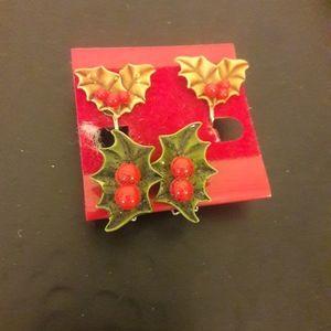 Christmas clip on earrings